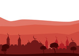 Horizontal abstract banner of arab city vector background. Arab city vector - 219758478