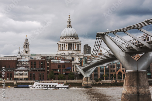 City of London with River Thames and bridge