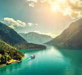 Beautiful morning sunrise view on the mountain lake in Alps  - 219766437