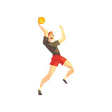 Male basketball player, sportsman character playing with ball, active sport lifestyle vector Illustration on a white background