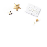 Christmas present with Christmas decorations on white background. Flatlay.  Symbolic image. Copy space - 219767496
