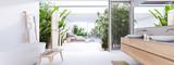 new modern zen bathroom with tropic plants. 3d rendering - 219769043