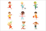 Small Kids Playing Sportive Games And Enjoying Different Sports Exercises Outdoors And In Gym Set Of Cartoon Illustrations - 219770240