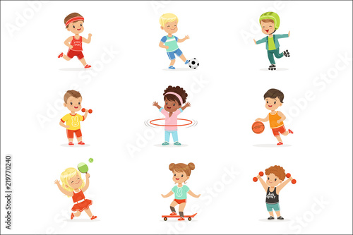 Small Kids Playing Sportive Games And Enjoying Different Sports Exercises Outdoors And In Gym Set Of Cartoon Illustrations