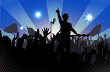 Concert rock performer cheerful naked audience in the hall vector illustration EPS10.