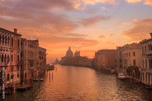 Venice in the early morning. Picture taken from the Academy bridge. Italy. - 219790266