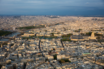 Center of paris from top roofs and streets panorama city © sidorovstock