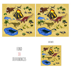 Find 10 differences. Search spots in dinosaur's park. Educational game for children. Cartoon vector illustration