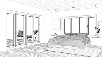 Interior design project, black and white ink sketch, architecture blueprint showing contemporary bedroom with double bed, carpet and window © ArchiVIZ