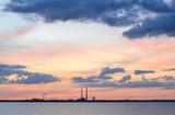 Evening sky with pink tinge above dublin city skyline,Ireland. - 219848048