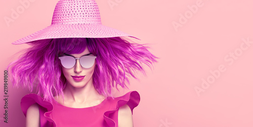 98db3a89737a Creative Art Portrait Glamour Lady. Party Hairstyle. Young Beautiful Woman  in Pink Summer Dress