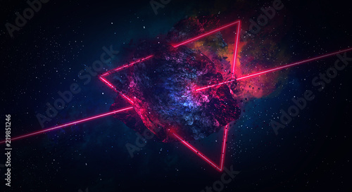 Space abstract background, burning comet, flash, laser through the stone, bright colors © MiaStendal
