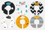 Set of fashion baby closet dividers. Cute garment organizers. Vector hand drawn illustration. - 219851877