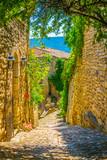 Narrow street in Lacoste village in France