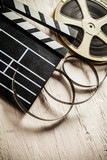 Vintage filmmakers equipment background - 219853421