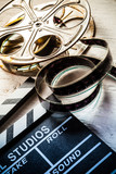 Vintage filmmakers equipment background - 219853438