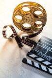 Vintage filmmakers equipment background - 219853450