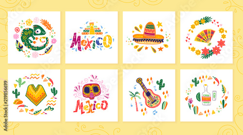 Vector collection of cards with traditional decoration Mexico party, carnival, celebration, fiesta event in flat hand drawn style. Text congratulation, skull, floral elements, petals, animals, cacti. - 219856699