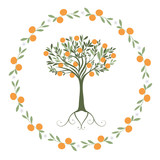 Garland of leaves, oranges and orange blossoms with orange tree inside - 219857639