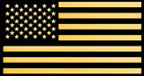 The USA flag from gold on black background, 3D rendering - 219858425
