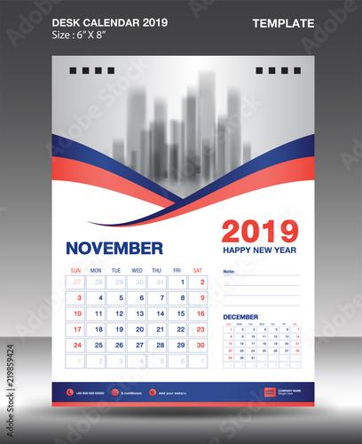 November Desk Calendar 2019 Template Flyer Design Vector Blue