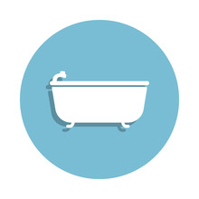 Bath Icon In Badge Style One Of Bathroom  Icon Can Be Used For Ui Ux Sticker