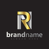 rn initial letter logo icon vector. gold silver gradient color - 219877227