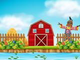 Red barn farm scence - 219880882