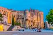 Leinwanddruck Bild - Sunset view of Palais de Papes in Avignon, France