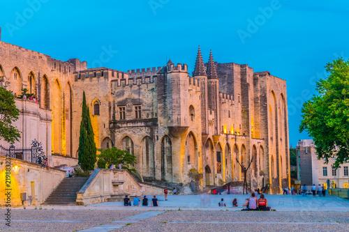 Leinwanddruck Bild Sunset view of Palais de Papes in Avignon, France