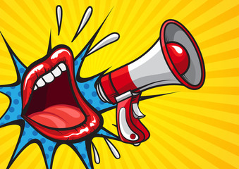 Retro design in pop art style of red lips on yellow background with megaphone screaming news
