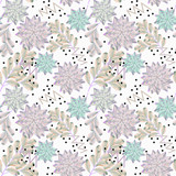 Seamless floral pattern with succulents in pastel colors.