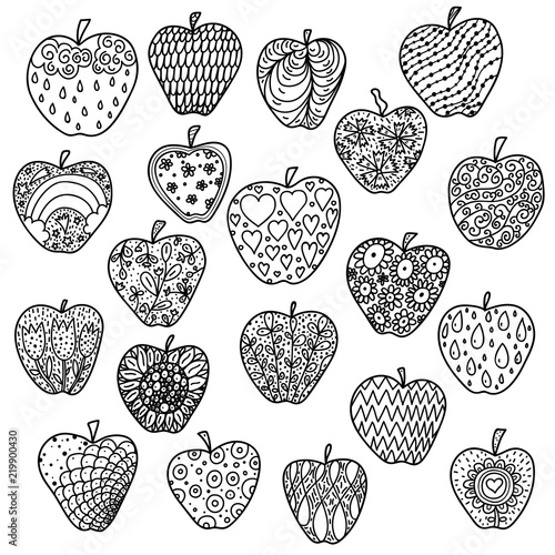 Seamless pattern with line apple. Seamless pattern can be used for wallpaper, pattern fills, web page background, surface textures.