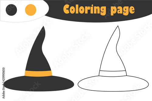 Witch hat in cartoon style, halloween coloring page, education paper game for the development of children, kids preschool activity, printable worksheet, vector illustration