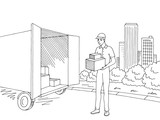 Delivery man holding a box. Street road graphic black white city landscape sketch illustration vector - 219903073