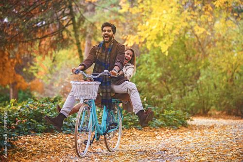 Couple enjoying fall - 219911661