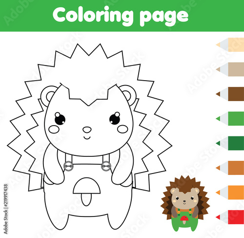 Coloring page with hedgehog. Drawing kids activity. Printable toddlers fun