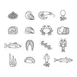 set of seafood icons - 219922496