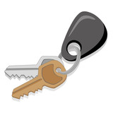 Icon, object illustration, key with key chain. keyring. Ideal for catalogs and infographics - 219923477