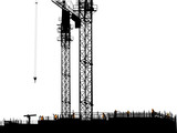 nine workers building house on white - 219924876