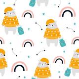 Sweet dreams childish seamless pattern with polar bear and rainbow. Vector hand drawn illustration. - 219928240