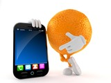 Orange character with smart phone - 219932201