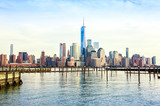 View of Lower Manhattan  from Jersey City at sunset,  New York City, United States. - 219933049