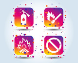 Fire flame icons. Fire extinguisher sign. Prohibition stop symbol. Burning matchstick. Colour gradient square buttons. Flat design concept. Vector - 219936866