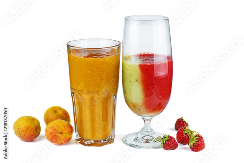Glass of apricot and strawberry-kiwi mix smoothie - 219937050