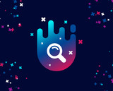 Search simple icon. Magnifying glass sign. Enlarge tool symbol. Cool banner with icon. Abstract shape with gradient. Vector - 219938090