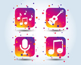 Music icons. Microphone karaoke symbol. Music notes and acoustic guitar signs. Colour gradient square music buttons. Flat design concept. Vector - 219938411