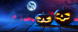 Halloween Pumpkins On Wood In A Spooky Forest At Night - 219943680