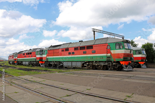 passenger locomotives in the parking lot