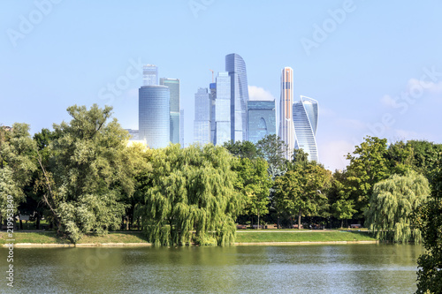 Moscow city center skyline. Downtown view. Sunny summer day.